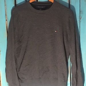 Tommy Hilfiger Men's crewneck Sweater, Gray, Large